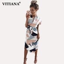 VITIANA 2017 женские летние повседневные платья для девочек карандаш длиной до колен с коротким рукавом милый пляж boho платье одежда vestidos