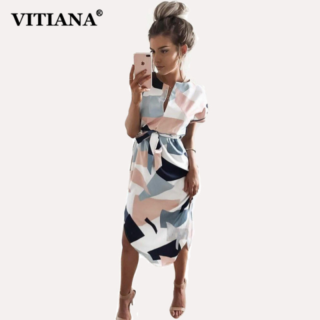 06cb1b16e VITIANA 2017 Women Summer Casual Dresses Girls Pencil Knee Length ...