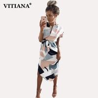 VITIANA 2017 Women Summer Casual Dresses Femme Pencil Knee Length Short Sleeve Cute Beach Boho Dress