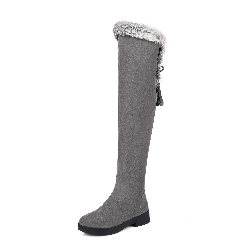 New Elegant Women Over the Knee Boots Fashion Round Toe Square Heels Boots Black Grey Shoes Woman US Size 4-10.5New Elegant Women Over the Knee Boots Fashion Round Toe Square Heels Boots Black Grey Shoes Woman US Size 4-10.5