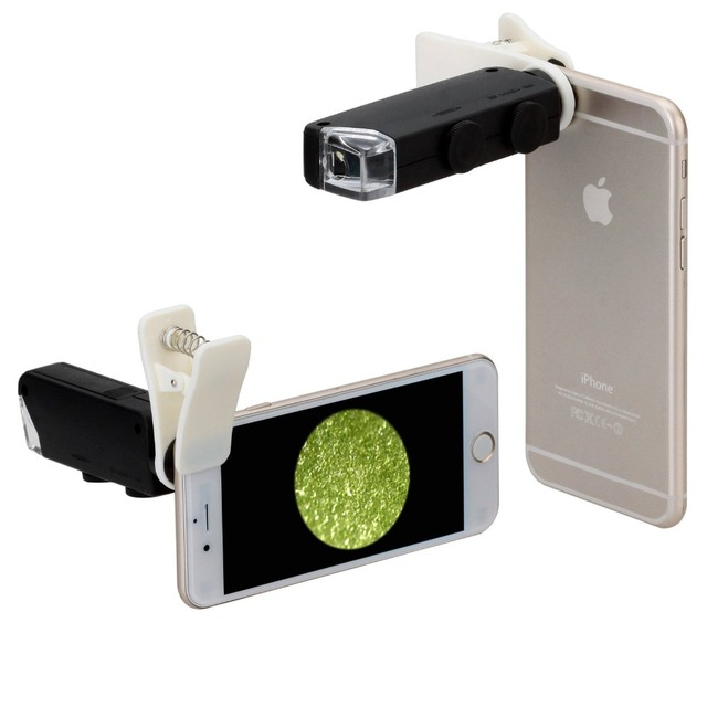 Microscope 60X to 100X Magnification Universal Clip LED Pocket Mini Jewellery Magnifier Glass Loupe Eye Lens for IPhone Samsung