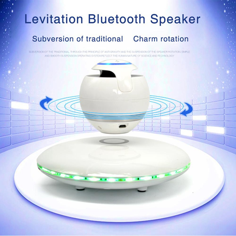 Wireless Magnetic Levitation 3D Bluetooth Speaker Rotating With Colorful  Led Support For Ios Android Phone Hands-Free Calls R2