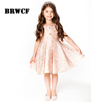 2017 Princess Girl Dress Autumn Winter For Embroidery Kids Clothes Flower Sequined Children Dress For Wedding
