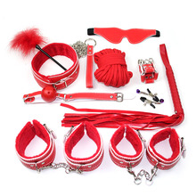 New 10pcs Sex Bondage Restraint SM Kit Handcuffs Collar Gag Mask Paddle Whip Rope Feather Adult Games Toys for Couples