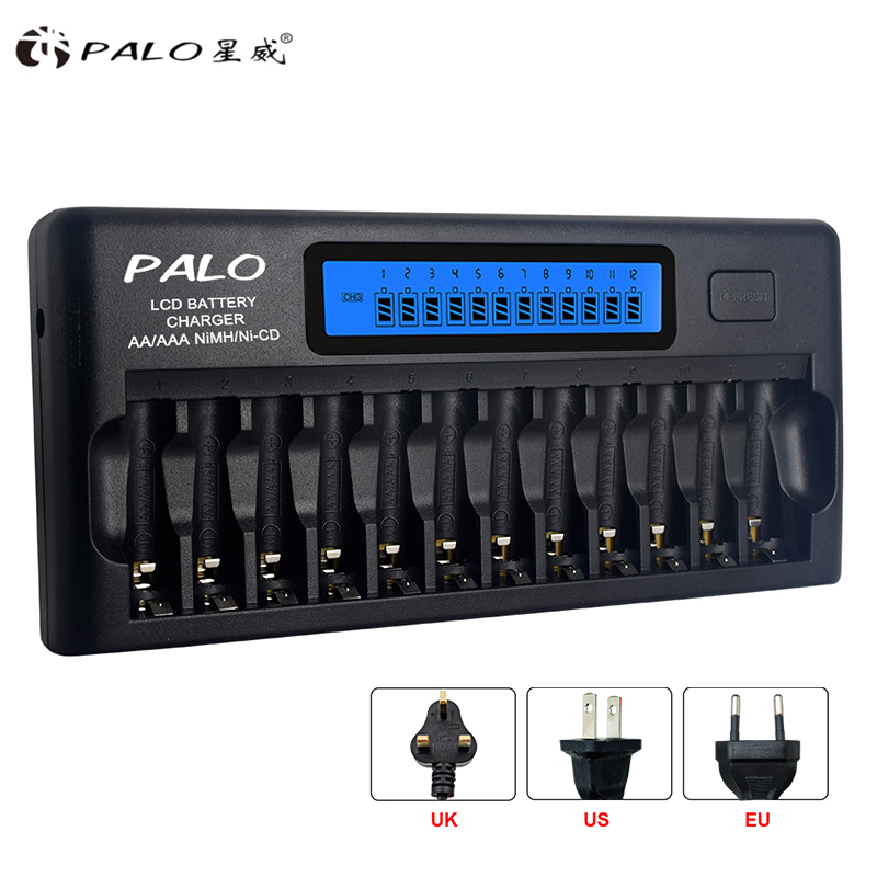 Fast Smart 12 Slots New type Charger PALO NIMH NICD AA AAA Smart LCD Battery Charger