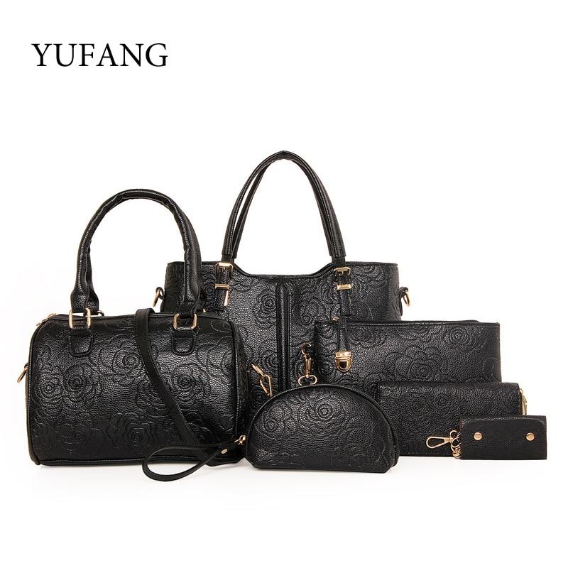 ФОТО YUFANG Brand 6pcs Composite Bags Women Boston Bag With Rose Print Messenger Bag Leather Handbag PU Female Shoulder Female Purse