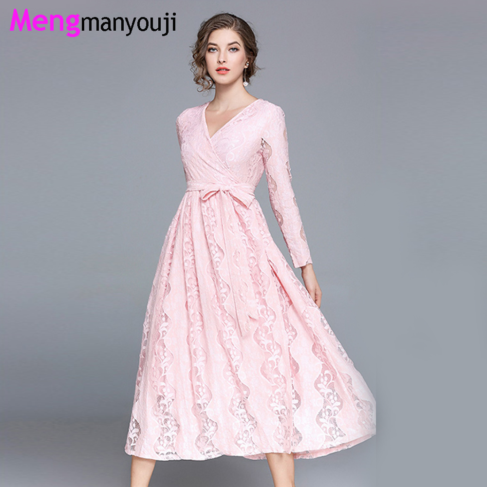 Spring/Autumn Lace Party Women Dresses Solid Pink Orange A Line Bandage High Waist V Neck Elegant Plus Size Formal Dress A6110