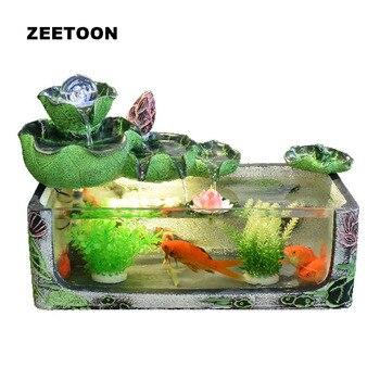 Verre Réservoir De Poisson Boule De Cristal Fontaine D'eau Feng Shui Bureau Rockery Lotus Ornement Chanceux Cadeau D'affaires Créatif Décor à La Maison