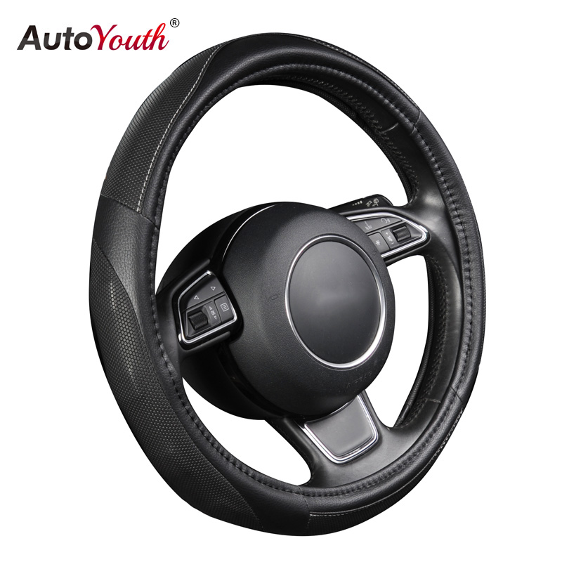 PU Leather Auto Steering Wheel Cover Hot Wheels AUTOYOUTH Black Color Fits 37-38 cm/15 diameter For mazda 6 audi a4 b7