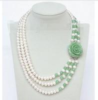 fine quality jewelry Genuine 8mm 3row round white freshwater pearls green gem necklace e122 Bridal Wedding word silver jewelry
