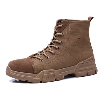 Boots Men Martin Boots High Top Simple Ankle Shoes Cotton Fabric Upper Lace up Non-slip Rubber Sole Outdoor Boots