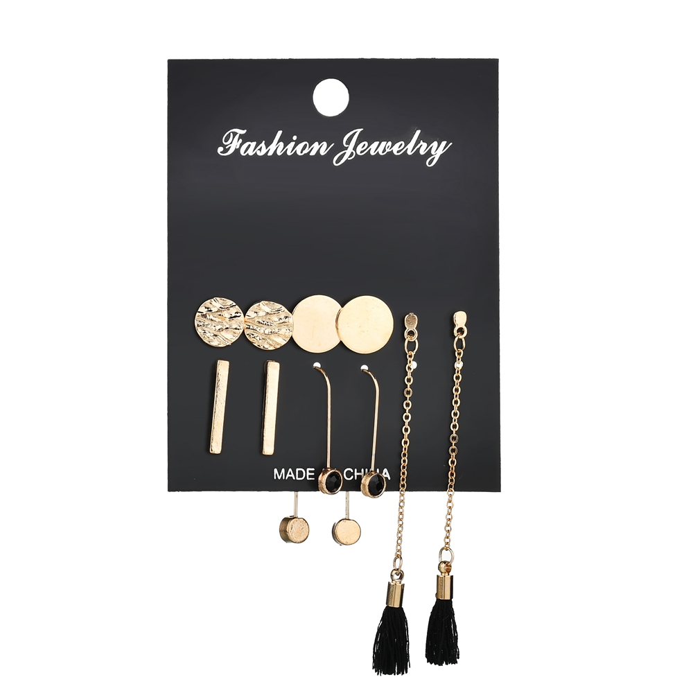 MissCyCy 5 Pairs/set Fashion Tassel Round Stud Earrings Set for Women Trendy Mixed Black Acrylic Statement Korean Long Earrings image
