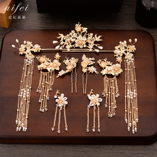 2019 New Chinese coronet Bridal Hairdress Set hair comb long tassle Wedding Accessories
