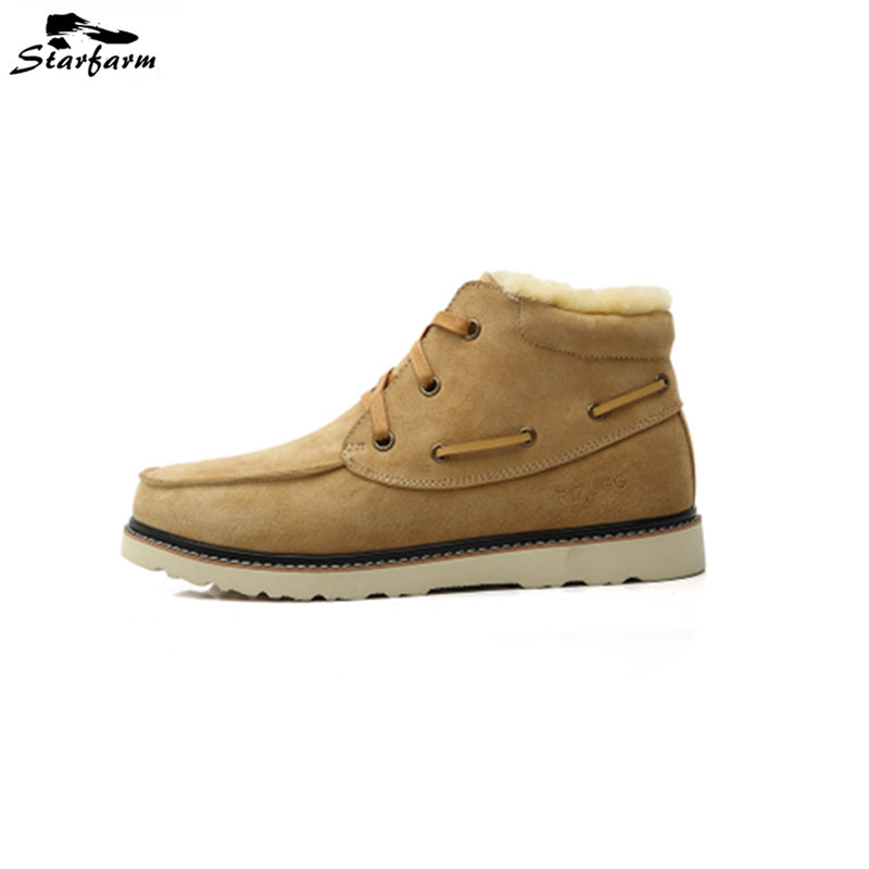 STARFARM Wool Martin Boots Men Ankle Genuine Leather Boots Pigskin Leather Warm Shoes Fashion Winter High Quality Snow Boots 2016 new arrival men winter martin ankle boots pu leather high quality fashion high top shoes snow timbe bota hot sale flat heel
