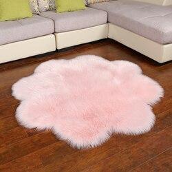 2019 MUZZI dywan ze sztucznego futra dywany do salonu puchaty dywan alfombras para la sala moderna dywan z owczej skóry kształt kwiatu