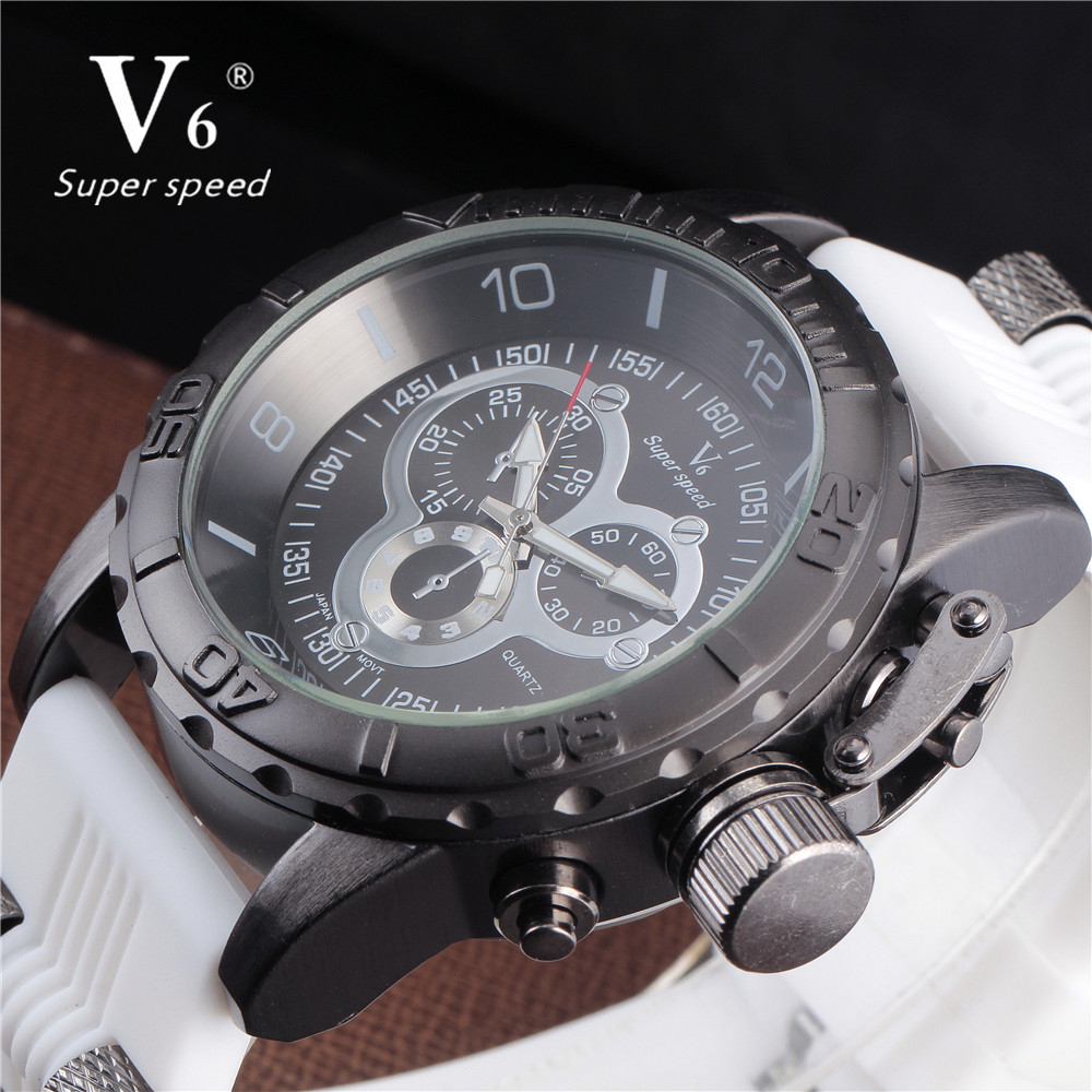 Watches Men V6 Brand Rubber Band Army Military Watches Men's Quartz Hour Clock Watch Sports Wrist Watch relogio masculino weide new men quartz casual watch army military sports watch waterproof back light men watches alarm clock multiple time zone