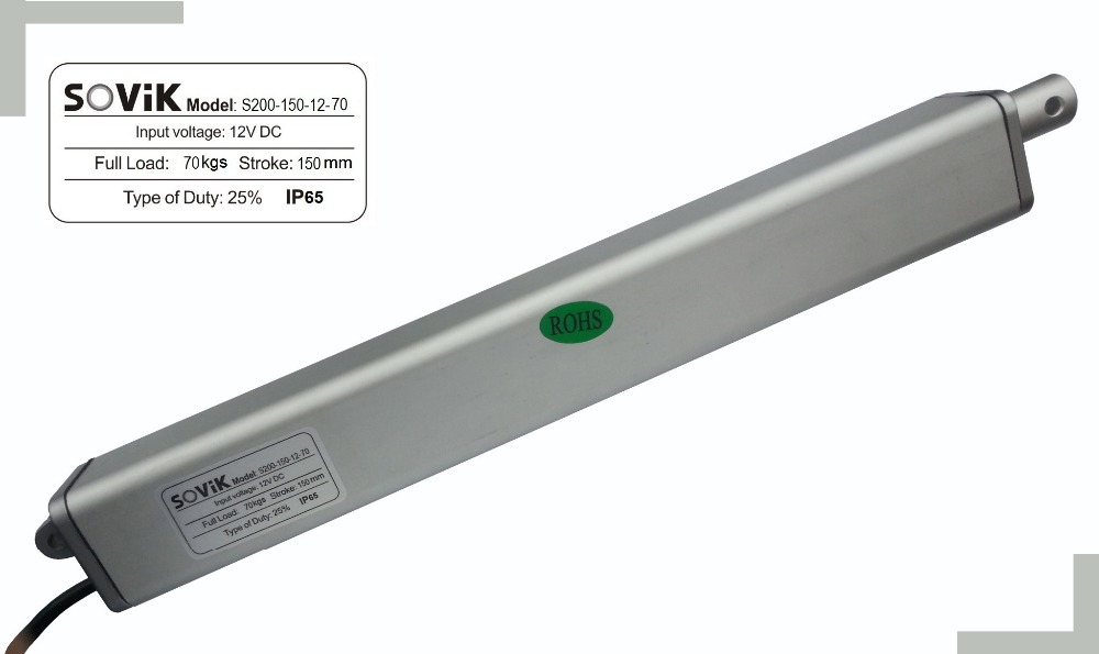 цена на SOViK 6 inch 150mm Stroke Linear Actuator 12V DC 700N Max Lift In-line Motor Design Heavy Duty Include Mounting Brackets
