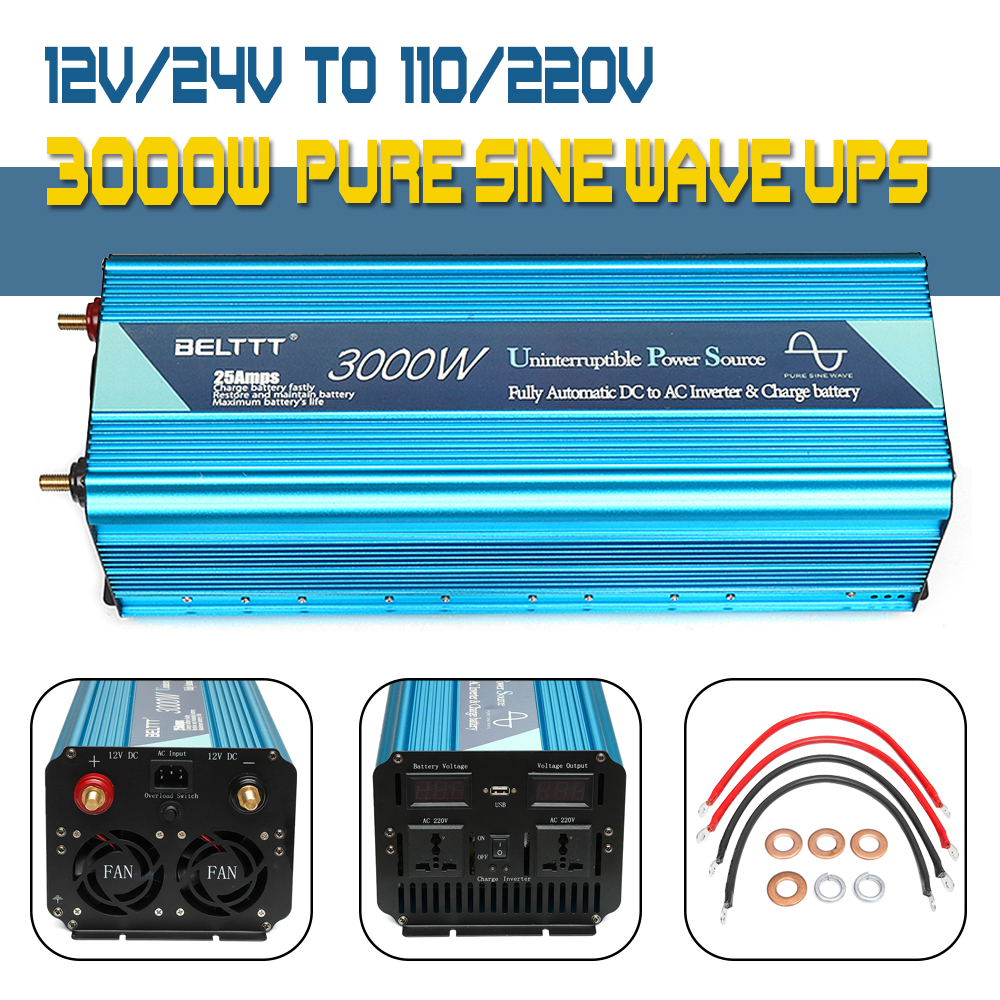 цена на UPS inverter Max 6000W 12/24V to 110V/220V Pure Sine Wave Inverter +Charger power supply with USB Charger for Home inverter