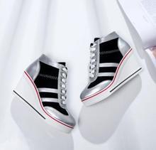 b63682b6586 2018 New Autumn Casual Platform Student Shoes Hidden Wedge Invisible Heel  Zipper Canvas Gril Shoes Women