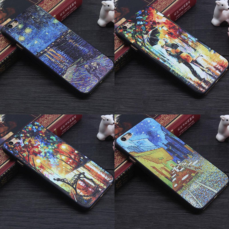 New 3D Van Gogh Starry Night Colorful Graffiti Oil Painting Case for iPhone SE 5 5s 6 6s 7 Plus Soft TPU Skin Cover Fundas BA186