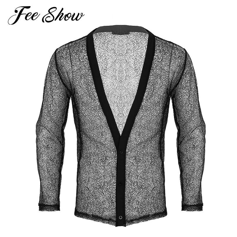 Fashion Men Blazer Casual Wear See Through Hollow Fishnet Casual Blazer Men Long Sleeves Jacket Clubwear Deep V-neck Mesh Blazer
