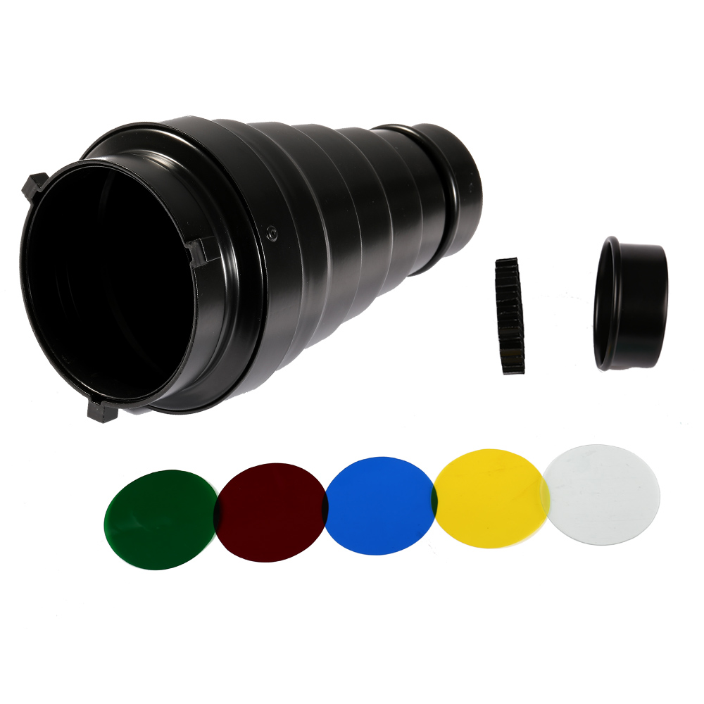 100x190mm Photography Studio Photo Conical Snoot Light Control Snoot & Honeycomb Bowens Mount For Studio Flash Strobe Accesories