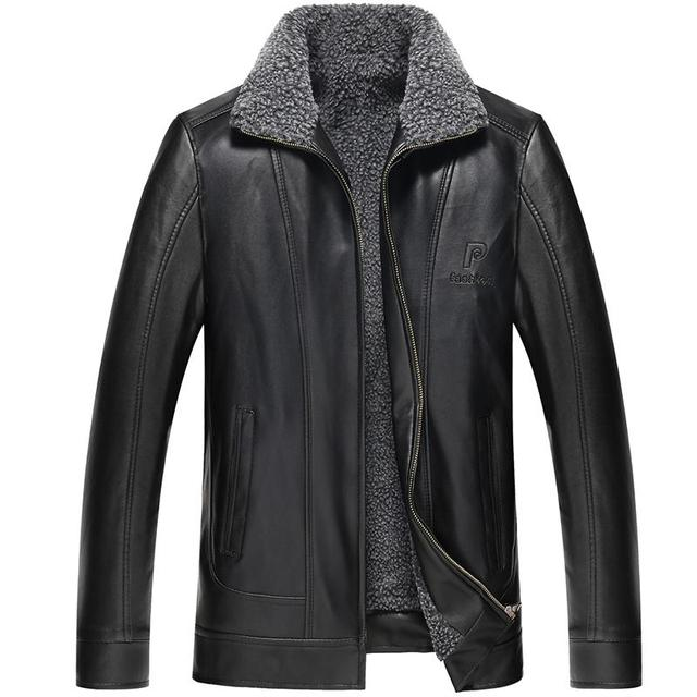 Plus Size 4XL Winter Warm PU Leather jacket Casual Leather Coats Men Overcoat hick Warm Velvet Stand Up Collar Faux Leather Coat