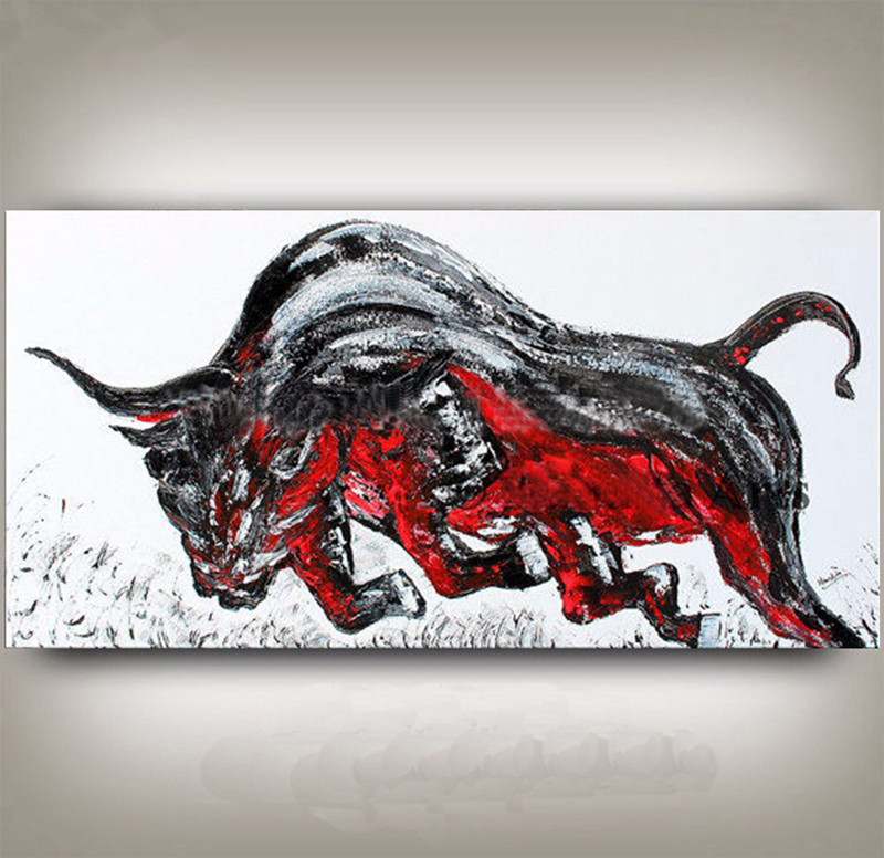 Gifts Knife Red Grey Fight Bull Pictures Home Decor Wall Art Large Painting Hand Painted Abstract