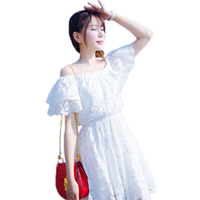 New Korean Style Summer Dress Sexy Slash Neck Off Shoulder Chiffon Dress White Embroidery Puff Sleeve Pleated Mini Tee Dress