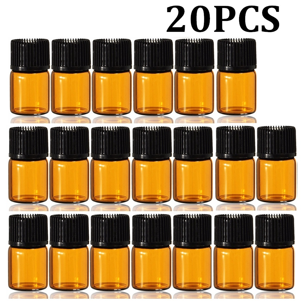Vials Refillable Glass-Bottle Cosmetic Essential-Oil Mini Dripper Orifice-Cap Amber 2ml