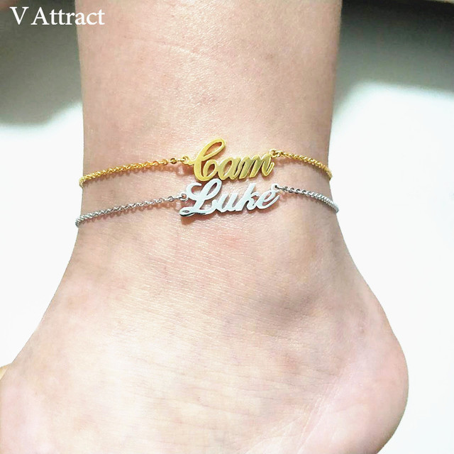 V Attract Personalized Name Anklet Bracelet Best Friends Beach Jewelry Graduation Gift Rose Gold Custom