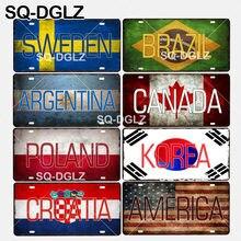 [SQ-DGLZ] suécia/brasil/argentina/canadá/polónia/coreia/croácia/américa bandeira nacional metal sinal decoração da parede artesanato placas