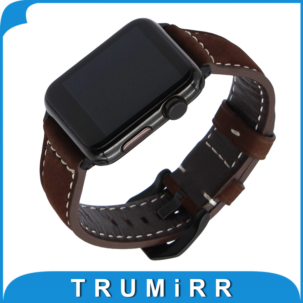 Vintage Genuine Cow Leather Watchband for iWatch Apple Watch 38mm 42mm Series 3 2 1 Band Steel Buckle Strap Accessory Bracelet 6 colors luxury genuine leather watchband for apple watch sport iwatch 38mm 42mm watch wrist strap bracelect replacement