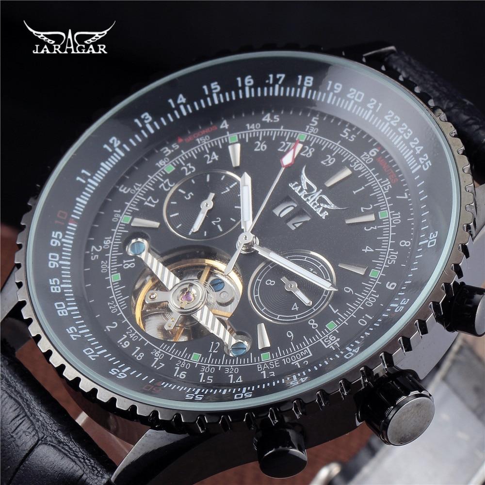 JARAGAR Luxury Big Dial 5 Hands Auto Black Mechanical Watches Month/Day/Week Leather Men's WristWatches Gift Men Clock