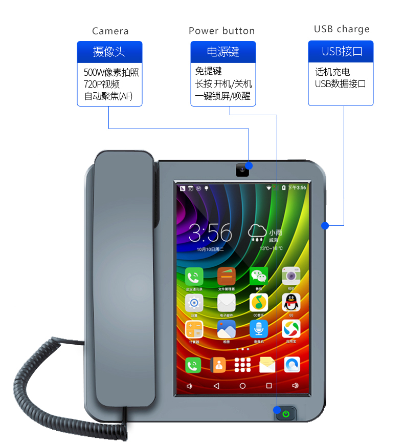 Smart LTE 4G Fixed Wireless landline Android 6 0 with 4G SIM network  videophone glob universal elderly WIFI video mobile phone