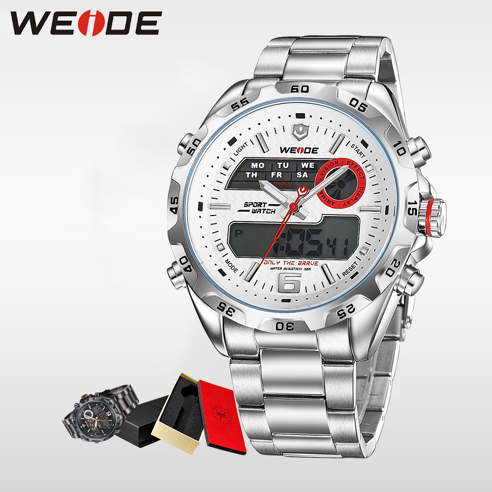 WEIDE Luxury Brand Fashion Men Sport Watch Analog Digital Display  Waterproof Stainless Steel Strap With White Dial Alarm Clock top brand luxury digital led analog date alarm stainless steel white dial wrist shark sport watch quartz men for gift sh004