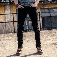 AIRGRACIAS Fashion Jeans Mens Black Micro Elastic Softener Slim Fit Straight Long Trousers Classic Casual Mens