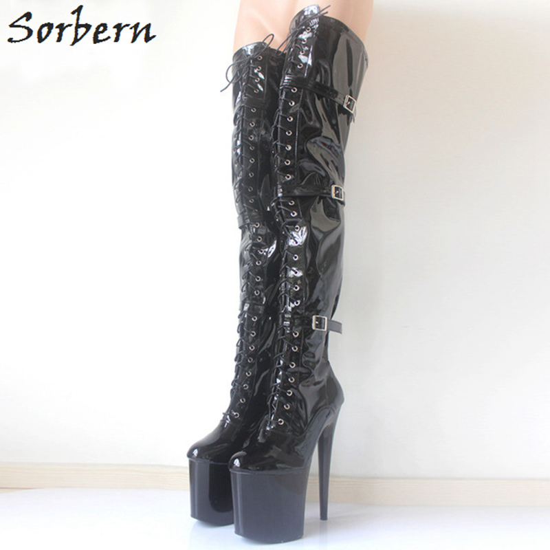 цена на Sorbern Sexy Over The Knee Thigh High Boots Extrem High Heels 20Cm/8 Shoes Ladies Platform Heel Boot Night Club Party Boots