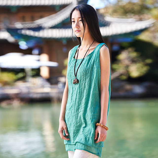 6 Candy Color Solid Linen Women Long Tank tops O-neck Sleeveless Summer Loose Casual Camisole Mori girl Cute Camis Vest B084