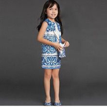 Fashion girls summer dress European style robe princesse enfant brand pattern costume for girls party dresses for girls