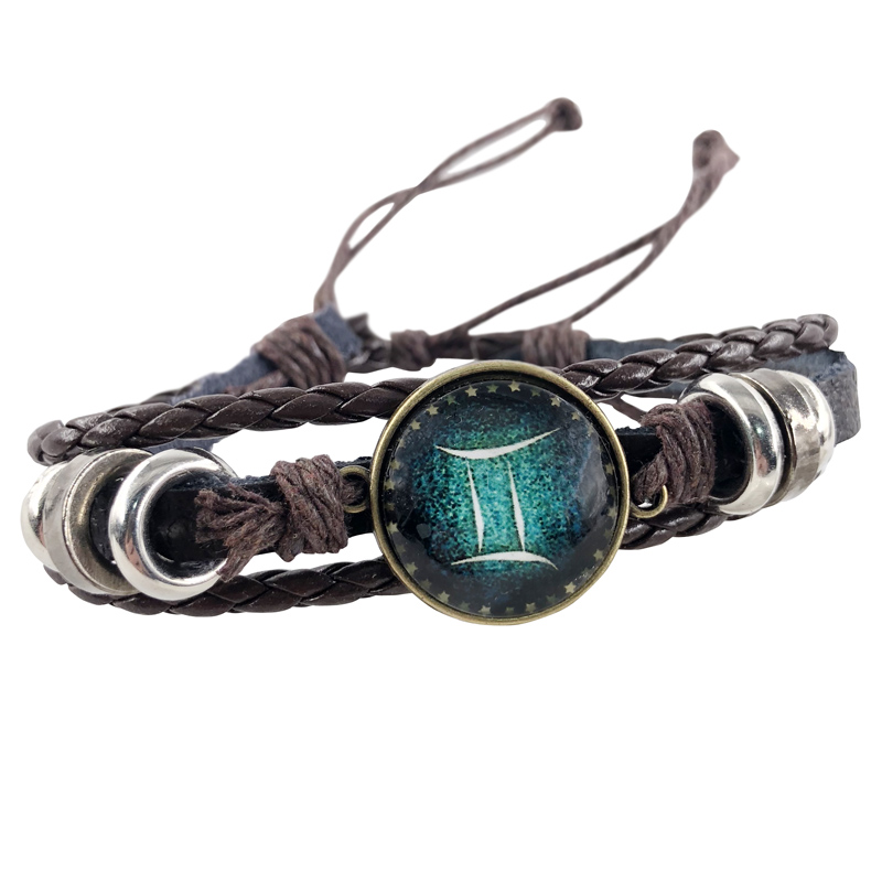 New 12 Constellation Charm Bracelets lovers' Leather Bracelet for Men Boys Women Girl Jewelry Accessories Gifts