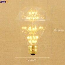 IWHD Diamond Lampada Edison Bulb Lamp E27 3W Bombilla Retro Vintage Light Bulb St64 A19 G95 G80 St58 T10 T185 T225 T30