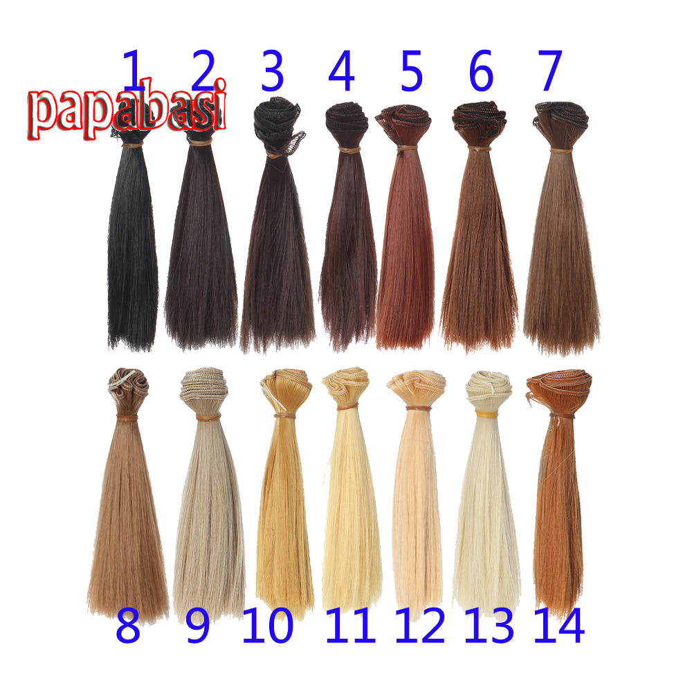 все цены на 20cm*100CM black gold brown khaki white grey color short straight doll hair for 1/3 1/4 1/6 BJD diy