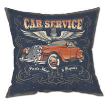 Vintage Classic Cars Pattern Cushion Cover Plush Fabric Cotton Retro Motorcycle Cartoon Pillow Case Home Decor Sofa Car Seat