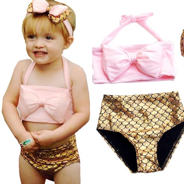 1ca919c348 Deux-Pièce Petite Fille Sirène Maillots de Bain Bébé Enfants Filles Bikini  Costume Maillot de