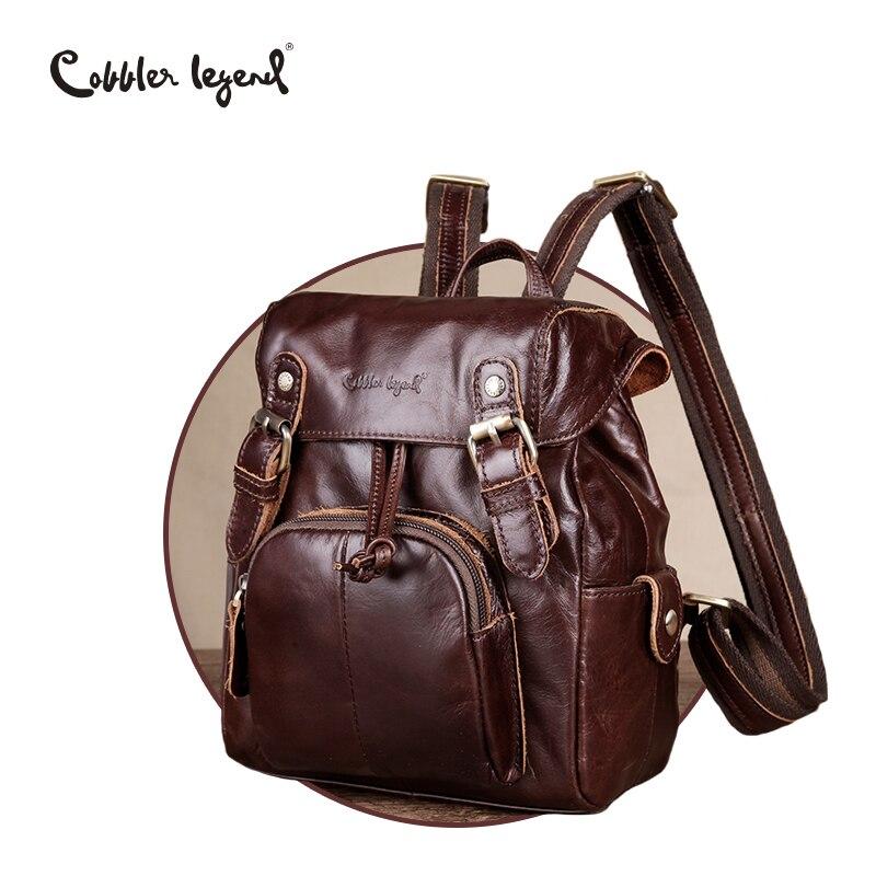Cobbler Legend Genuine Leather Backpack Brand Small Women Fashion Drawstring Bucket Bag Female Vintage Classic Bag Mini mochila