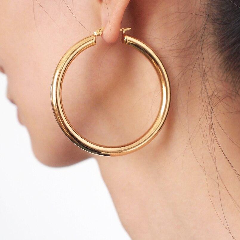 Punk 55mm Diameter Wide Hoop Earrings For Women Stainless Steel Tube Statement Earrings Wholesale Jewelry 2019 UKMOC