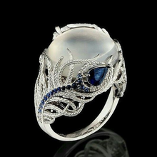 Ring moonstone jewelry gift for woman Opal stainless steel retro zircon brand butterfly  B2226+E066