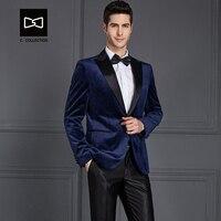 Tailor made Men Velvet Blue Suit Slim fit Wedding Suit Men Tuxedo 2 Pieces Custom Suit(Jacket+Pants) No. SZ16052