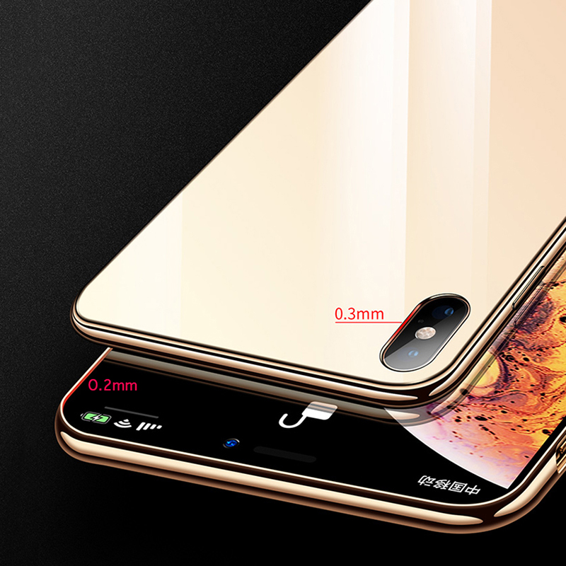Suntaiho for iPhone Case 7 Plating Edge Phone Case For iPhone 6s Case For iphone XR Xs Max case Glass Back phone Cover 8 Plus